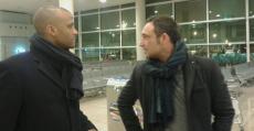 Molango y Recio en el aeropuerto regresando de Murcia tras empatar ante el UCAM. Foto: TTdeporte.com.