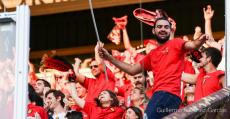 Aficionados llenando la grada visitante del José Zorrilla la temporada pasada. Foto: Fútbol Balear.