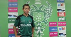 El futbolista chino Bijia Shuang en su presentación como nuevo jugador del Toledo. Foto: CDT.