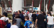 Este era el aspecto de los accesos a tribuna a quince minutos de empezar el encuentro ante el Numancia. Foto: TTdeporte.com.