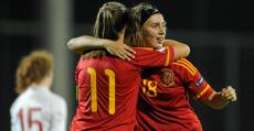 La mallorquina Virginia Torrecilla celebrando un tanto con la selección. Foto: Fútbol Balear.