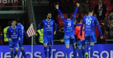 Los jugadores del Formentera celebrando el tanto del pase a octavos de Copa en San Mamés. Foto: LaLiga.