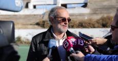 Antonio Diéguez atendiendo a los medios el día de los inicios de la demolición del Estadi Balear en 2017. Foto: GuiemSports.