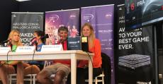Sorteo del cuadro con la presencia de Toni Nadal, las jugadoras Lara Arruabarrena y Lucie Safarova además de Mariana Alves (supervisora WTA). Foto: TTdeporte.com.