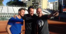 Moyà, Ferrero y Corretja en la pista del PSTC. Foto: TTdeporte.