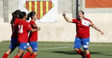 Pili Espadas celebrando un tanto del Collerense en su última estancia en Primera División. Foto: LaLiga.