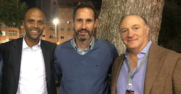 Molango, Moreno y Kohlberg en la Legends Cup de tenis en Palma. Foto: PF.