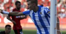 Odegaard celebra su gol en Son Moix. Foto: LaLiga.
